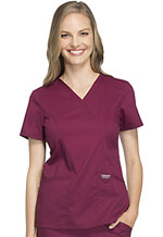Cherokee Workwear Mock Wrap Top Wine (WW610-WIN)