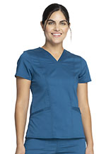 Cherokee Workwear V-Neck Top Caribbean Blue (WW710-CAR)