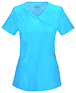 Cherokee Mock Wrap Top Turquoise (2625A-TRQ)