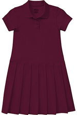Classroom Uniforms Classroom Girl's S/S Pique Polo Dress in Burgundy (54122-BUR)