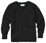 Classroom Uniforms Classroom Youth Unisex Long Sleeve V-neck Sweater in Black (56702-BLK)