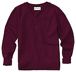 Classroom Uniforms Classroom Youth Unisex Long Sleeve V-neck Sweater in Burgundy (56702-BUR)
