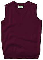Classroom Uniforms Classroom Adult Unisex V-Neck Sweater Vest in Burgundy (56914-BUR)