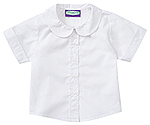 Classroom Uniforms Classroom Preschool Short Sleeve Peter Pan Blouse in White (57320-WHT)