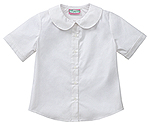 Classroom Uniforms Classroom Juniors Short Sleeve Peter Pan Blouse in White (57554-WHT)