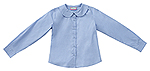 Classroom Uniforms Classroom Girls Long Sleeve Peter Pan Blouse in Blue (57882-BLUU)