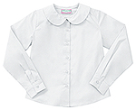 Classroom Uniforms Classroom Girls LS Peter Pan Blouse in White (57882-WHT)