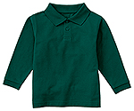 Classroom Uniforms Classroom Preschool Long Sleeve Pique Polo in SS Hunter Green (58350-SSHN)