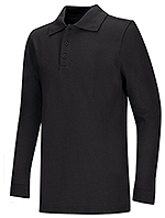 Classroom Uniforms Classroom Youth Unisex Long Sleeve Pique Polo in Black (58352-BLK)