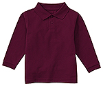 Classroom Uniforms Classroom Youth Unisex Long Sleeve Pique Polo in Burgundy (58352-BUR)