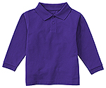 Classroom Uniforms Classroom Youth Unisex Long Sleeve Pique Polo in Dark Purple (58352-DKPR)
