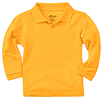 Classroom Uniforms Classroom Youth Unisex Long Sleeve Pique Polo in Gold (58352-GOLD)