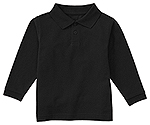 Classroom Uniforms Classroom Youth Unisex Long Sleeve Pique Polo in SS Black (58352-SSBK)