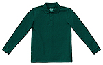 Classroom Uniforms Classroom Youth Unisex Long Sleeve Pique Polo in SS Hunter Green (58352-SSHN)