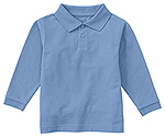 Classroom Uniforms Classroom Youth Unisex Long Sleeve Pique Polo in SS Light Blue (58352-SSLB)