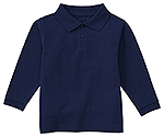 Classroom Uniforms Classroom Youth Unisex Long Sleeve Pique Polo in SS Navy (58352-SSNV)