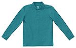 Classroom Uniforms Classroom Youth Unisex Long Sleeve Pique Polo in Teal (58352-TEAL)