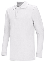 Classroom Uniforms Classroom Youth Unisex Long Sleeve Pique Polo in White (58352-WHT)