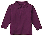 Classroom Uniforms Classroom Youth Unisex Long Sleeve Pique Polo in Wine (58352-WINE)