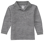 Classroom Uniforms Classroom Adult Unisex Long Sleeve Pique Polo in Heather Gray (58354-HGRY)