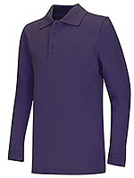 Classroom Uniforms Classroom Adult Unisex Long Sleeve Pique Polo in Purple (58354-PUR)
