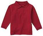 Classroom Uniforms Classroom Adult Unisex Long Sleeve Pique Polo in Red (58354-RED)