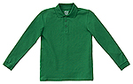 Classroom Uniforms Classroom Adult Unisex Long Sleeve Pique Polo in SS Kelly Green (58354-SSKG)