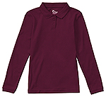 Classroom Uniforms Classroom Girls Long Sleeve Fitted Interlock Polo in Burgundy (58542-BUR)