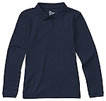 Classroom Uniforms Classroom Girls Long Sleeve Fitted Interlock Polo in Dark Navy (58542-DNVY)