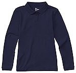 Classroom Uniforms Classroom Girls Long Sleeve Fitted Interlock Polo in SS Navy (58542-SSNV)