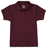 Classroom Uniforms Classroom Girls Short Sleeve Fitted Interlock Polo in Burgundy (58582-BUR)