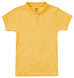 Classroom Uniforms Classroom Girls Short Sleeve Fitted Interlock Polo in Gold (58582-GOLD)