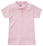 Classroom Uniforms Classroom Girls Short Sleeve Fitted Interlock Polo in Pink (58582-PINK)