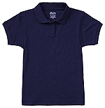 Classroom Uniforms Classroom Girls Short Sleeve Fitted Interlock Polo in SS Navy (58582-SSNV)