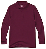 Classroom Uniforms Classroom Youth Unisex Long Sleeve Interlock Polo in Burgundy (58732-BUR)