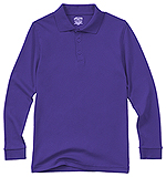 Classroom Uniforms Classroom Youth Unisex Long Sleeve Interlock Polo in Dark Purple (58732-DKPR)