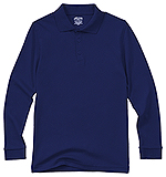 Classroom Uniforms Classroom Youth Unisex Long Sleeve Interlock Polo in Dark Navy (58732-DNVY)
