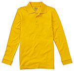 Classroom Uniforms Classroom Youth Unisex Long Sleeve Interlock Polo in Gold (58732-GOLD)