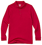 Classroom Uniforms Classroom Youth Unisex Long Sleeve Interlock Polo in Red (58732-RED)