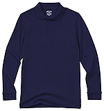 Classroom Uniforms Classroom Youth Unisex Long Sleeve Interlock Polo in SS Navy (58732-SSNV)