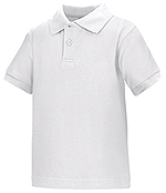 Classroom Uniforms Classroom Preschool Unisex SS Interlock Polo in White (58830-WHT)