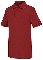 Classroom Uniforms Classroom Youth Unisex Short Sleeve Interlock Polo in Red (58912-RED)