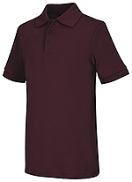 Classroom Uniforms Classroom Adult Unisex Short Sleeve Interlock Polo in Burgundy (58914-BUR)