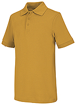 Classroom Uniforms Classroom Adult Unisex Short Sleeve Interlock Polo in Gold (58914-GOLD)
