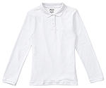 Classroom Uniforms Classroom Jrs Long Sleeve Fitted Interlock Polo in SS White (CR854X-SSWT)