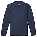 Classroom Uniforms Classroom Girls Long Sleeve Fitted Interlock Polo in Dark Navy (CR854Y-DNVY)