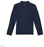 Classroom Uniforms Classroom Adult Long Sleeve Interlock Polo in Dark Navy (CR873X-DNVY)