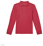 Classroom Uniforms Classroom Youth Long Sleeve Interlock Polo in Red (CR873Y-RED)