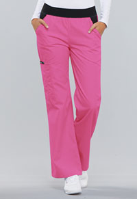 Cherokee Mid Rise Knit Waist Pull-On Pant Shocking Pink (1031-SHPB)