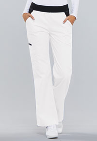 Cherokee Mid Rise Knit Waist Pull-On Pant White (1031-WHTS)